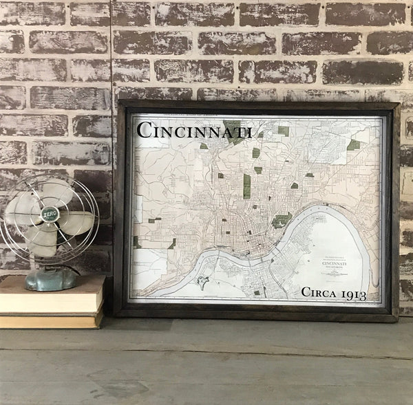 Cincinnati Framed Map 1913