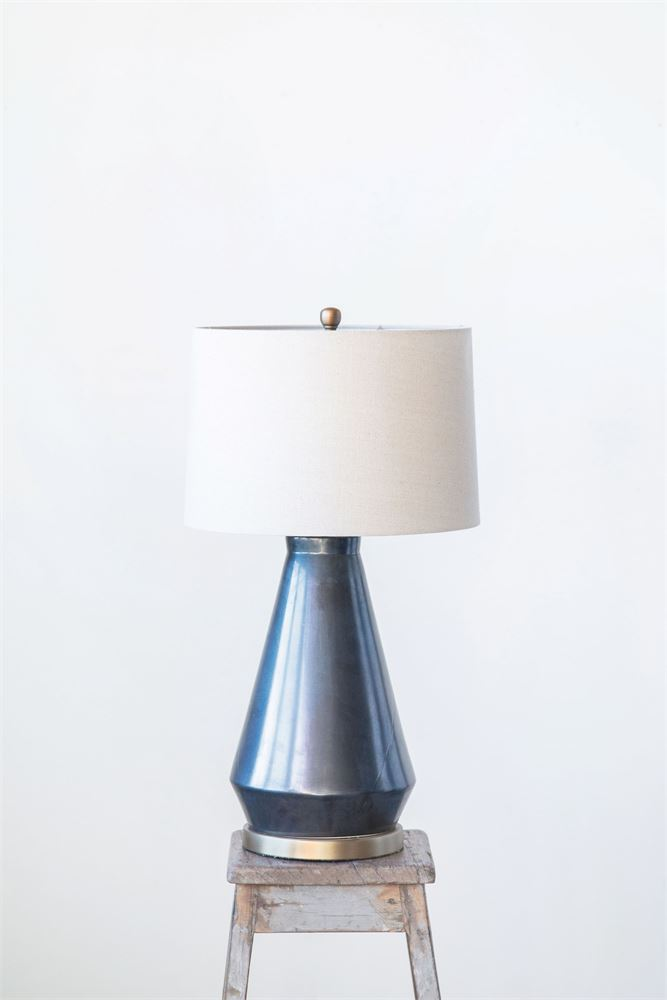 MIDNIGHT BLUE GLAZE TABLE LAMP
