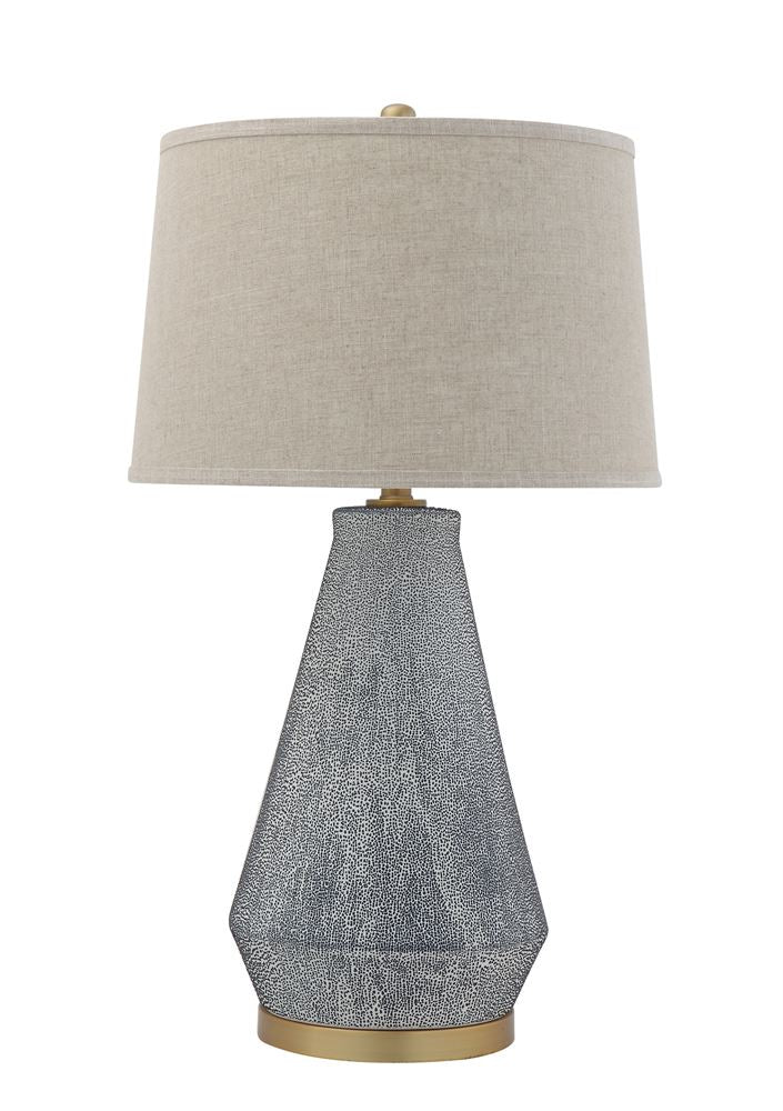 BLUE TEXTURED GLAZE TABLE LAMP