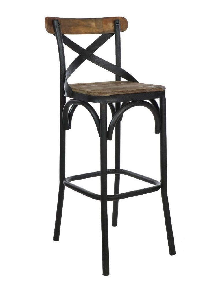 Crossroads Barstool with Iron Back