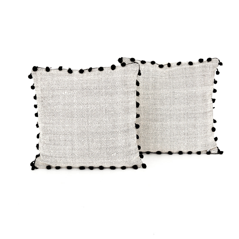 Black Fringe Trim Pillow
