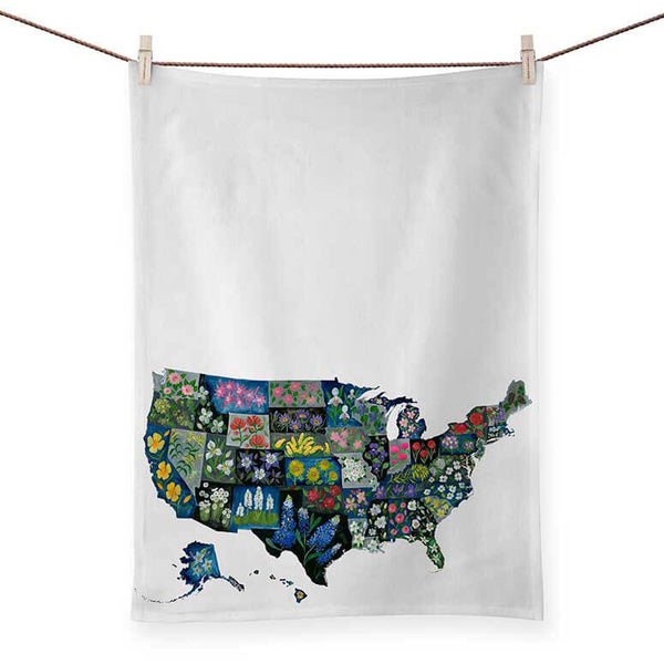 USA State Flower Tea Towel