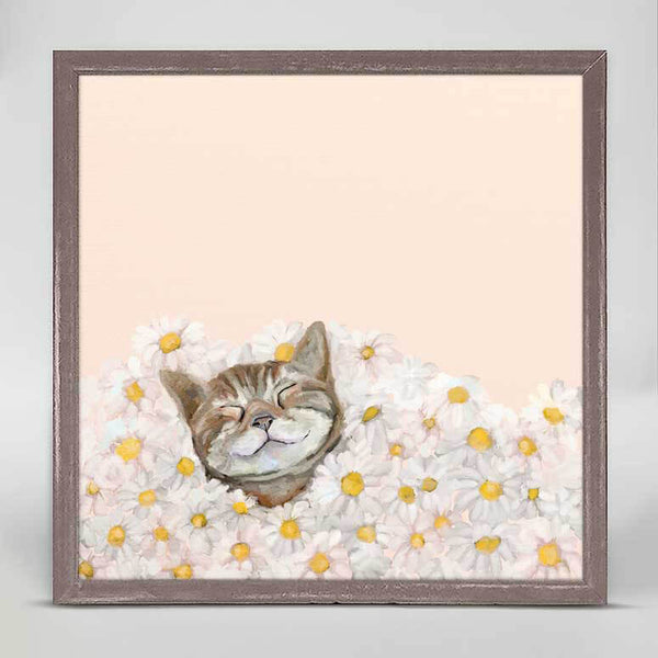 Happy as a Cat in Daisies Mini Canvas