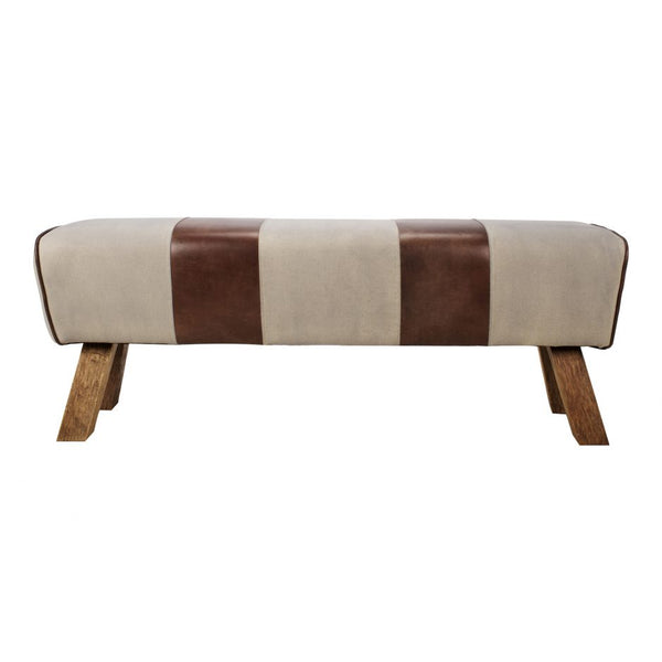 Leather & Canvas Pommel Bench