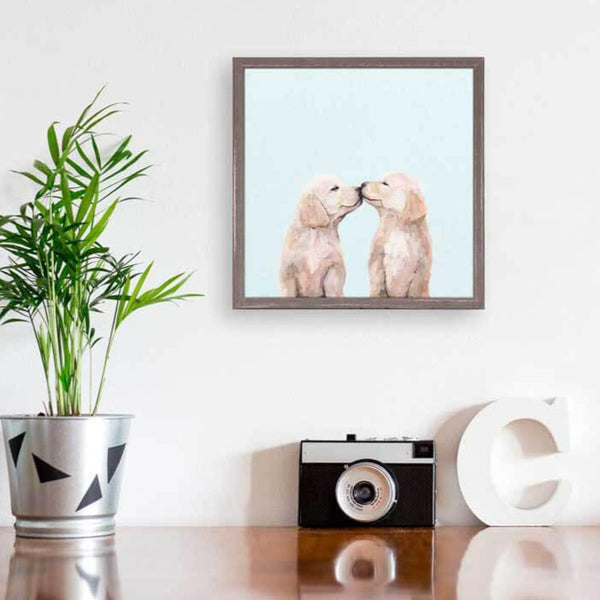Golden Pup Kisses Mini Canvas