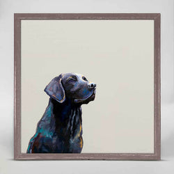 Sunbathing Black Lab Mini Canvas