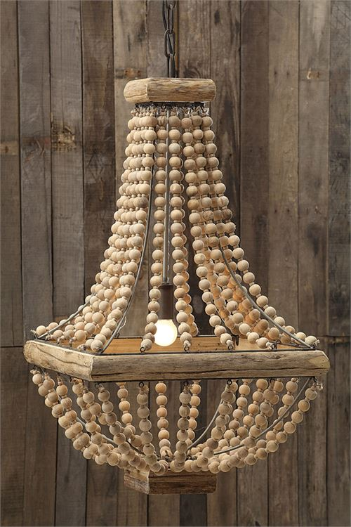 SQUARE WOOD BEAD CHANDELIER