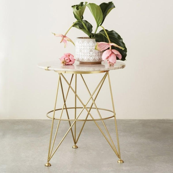 Sand Marble Top Side Table