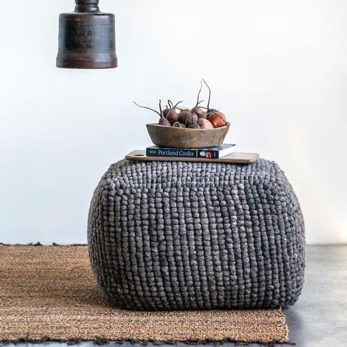 Grey Wool & Cotton Pouf