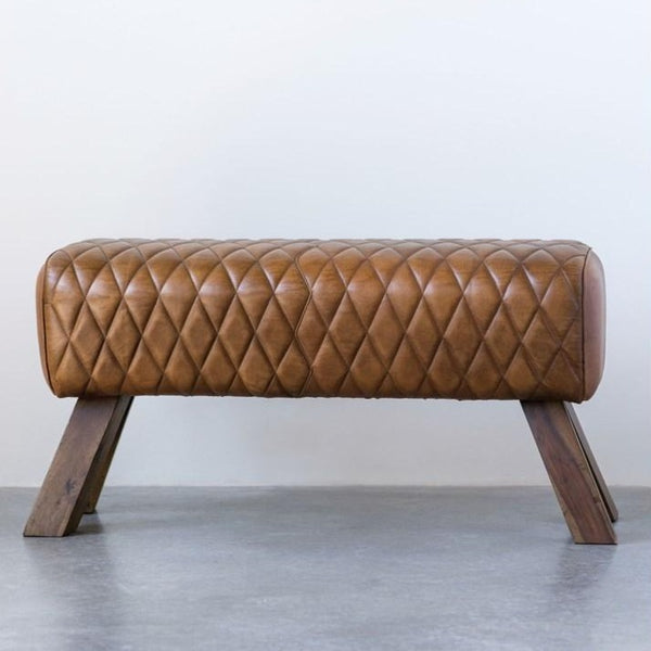 Stitched Leather Bench