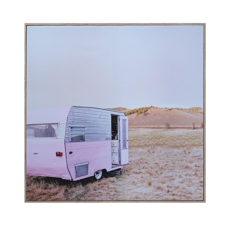 Pink Camper Framed Canvas Art