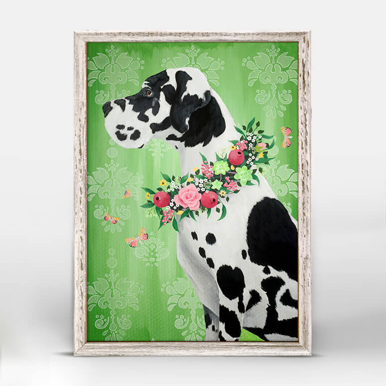 GREAT DANE ON GREEN MINI CANVAS