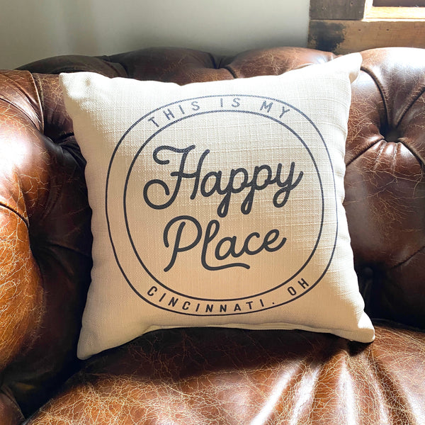 This Is My Happy Place Cincinnati Graphic Pillow