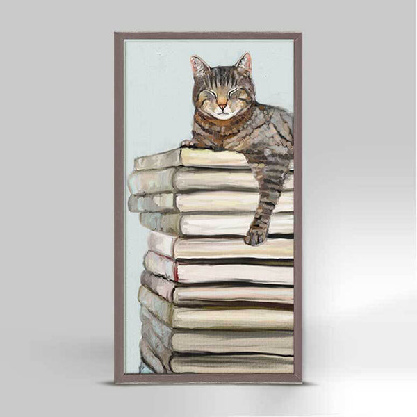 Cat On Books Mini Canvas
