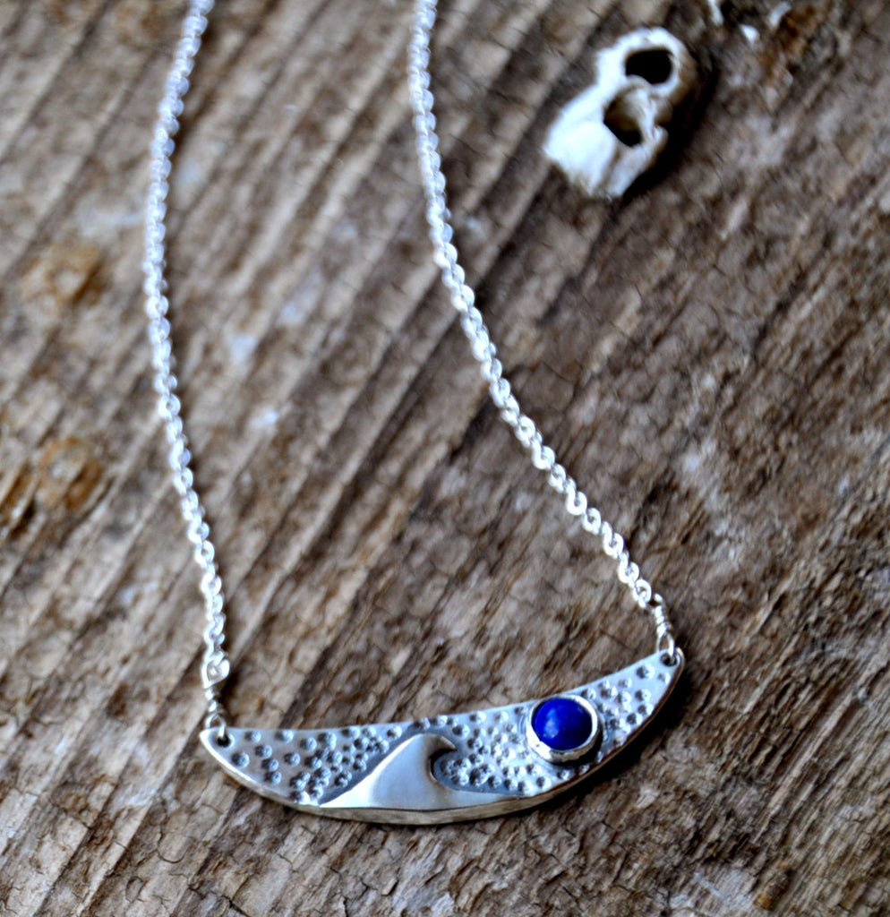 Crescent Lapis Wave Necklace