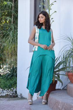 Asymmetric Pants with high Low Kurta Co-ords