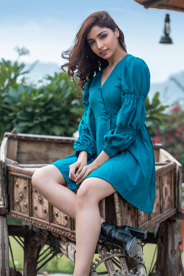 Box Pleat Shirt Dress with Front opening