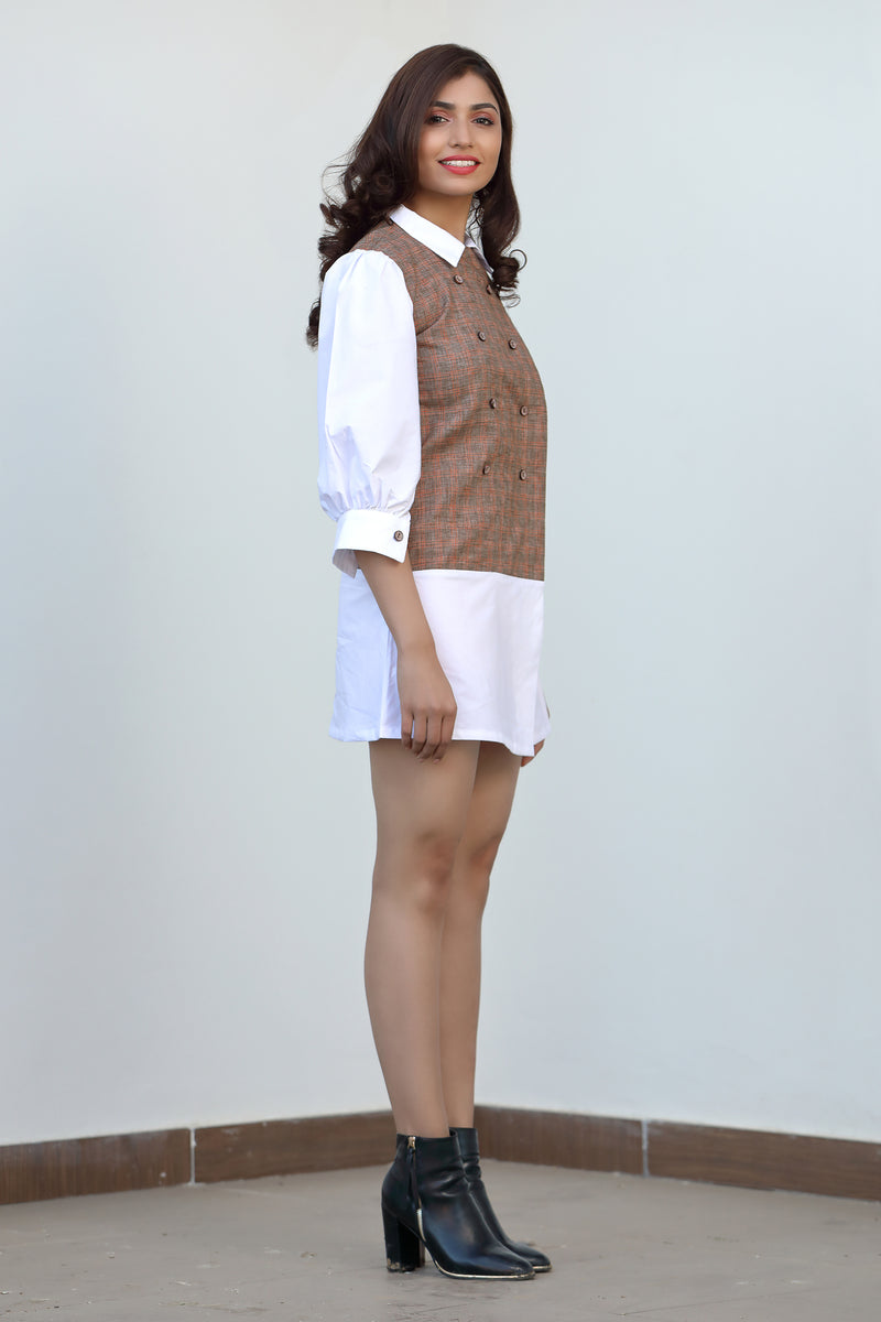 Contrast Collar & Hem Mini Dress