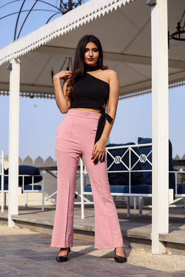 Rose pink flared pants with Choker neck crop top