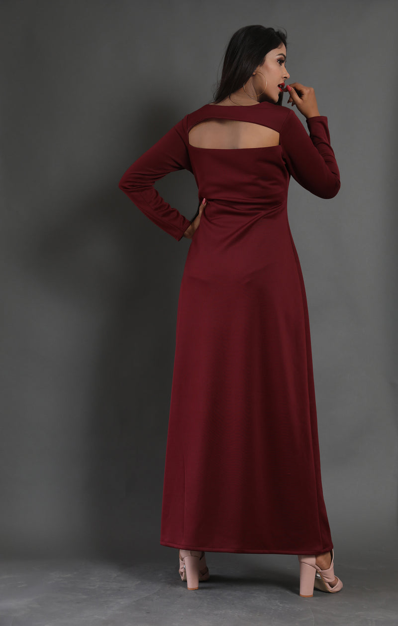 Front bodice cut-out full sleeves side slit maxi