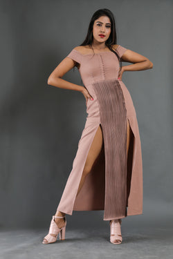 Pintucks off-shoulder Maxi dress
