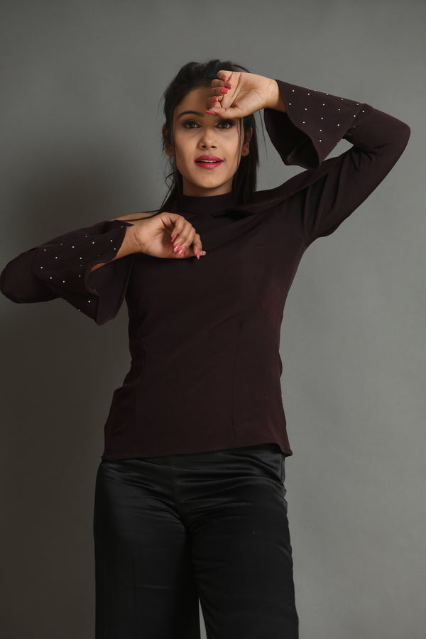 Pearl Sleeve Wine Top