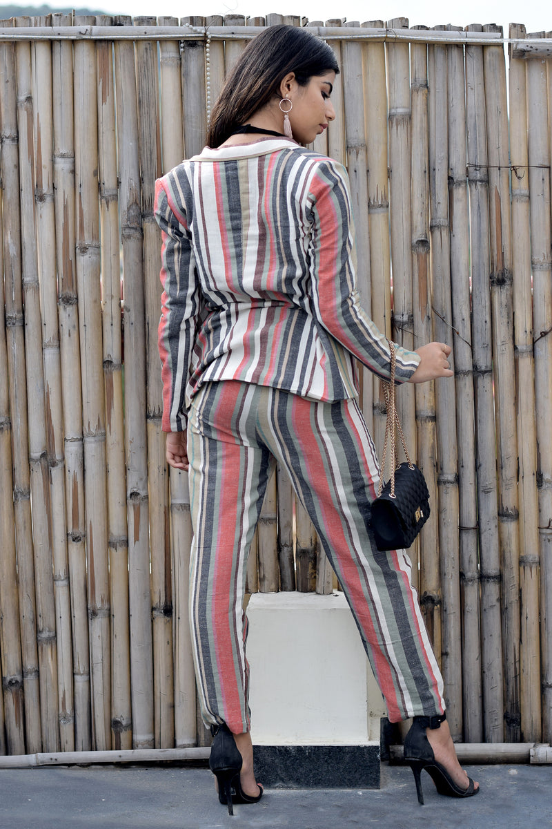 Impermanent Stripes- Multi-colour striped co-ord set