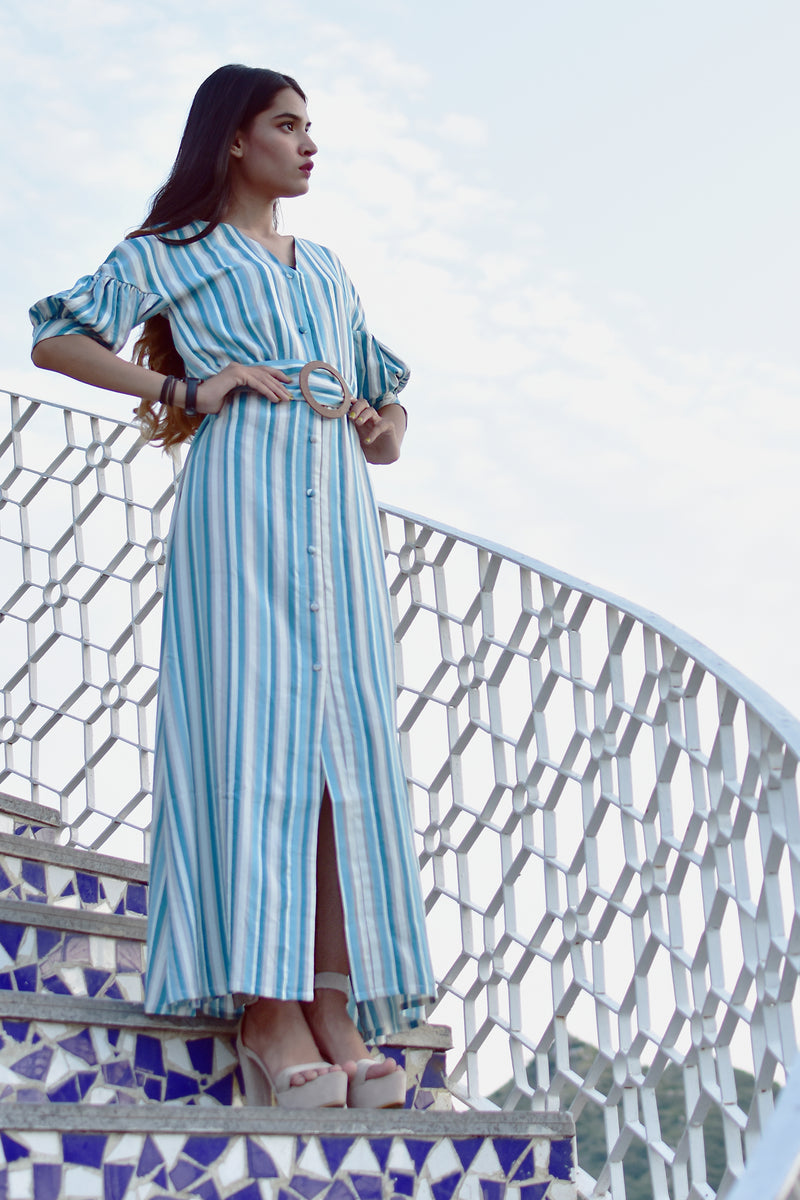 Stripe puff sleeves front slit  maxi dress with a belt