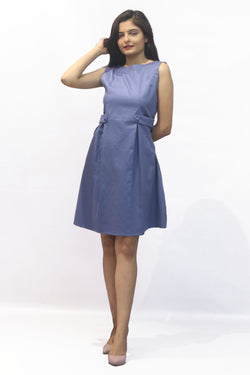 O Neck Front Box Pleat Mini Dress