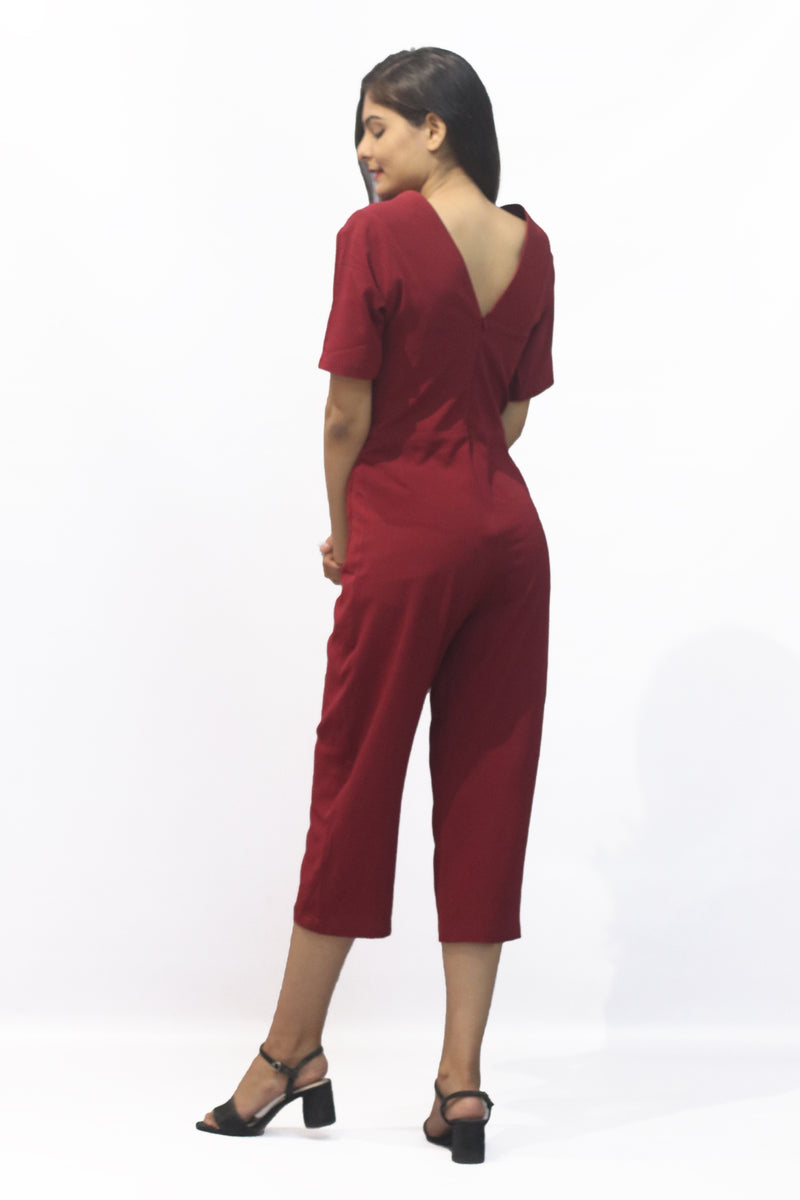 V-Neck Front Button Jumpsuit