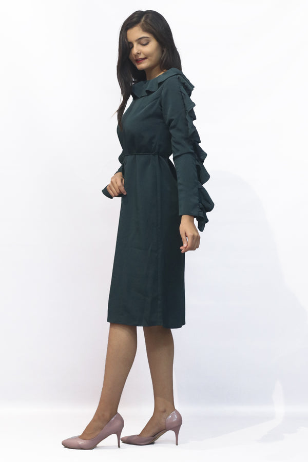 70's ruffle full sleeves knee length dress