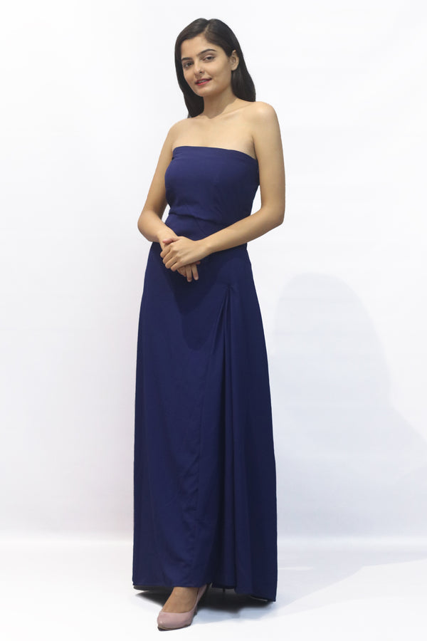 Off shoulder side pleates solid long dress