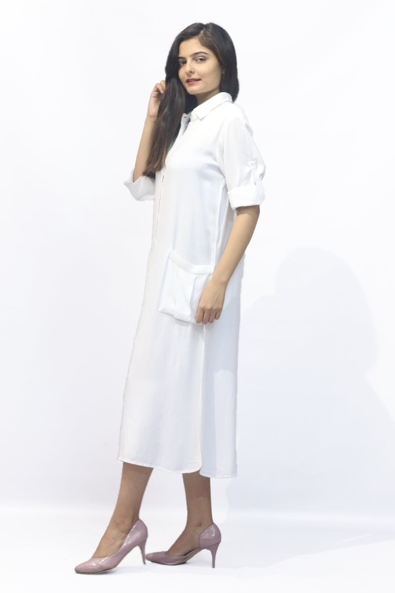 White shirt style loose fitted dress
