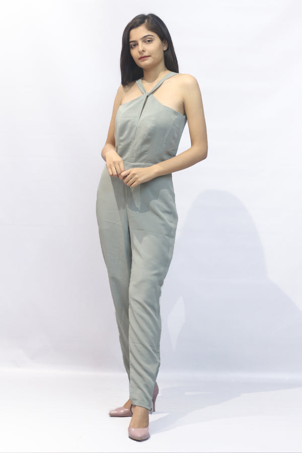 Back cutout olive jumpsuit