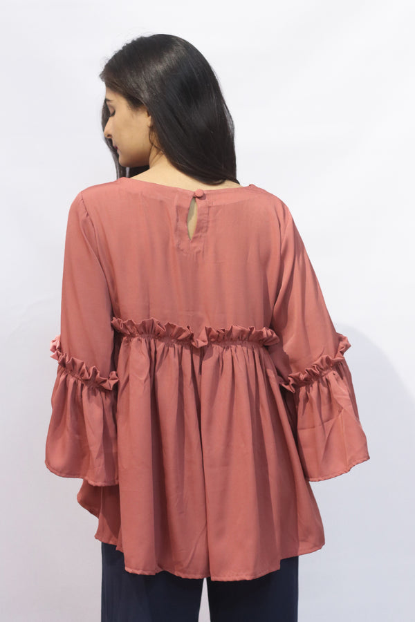 Waist Gathered Pink Top