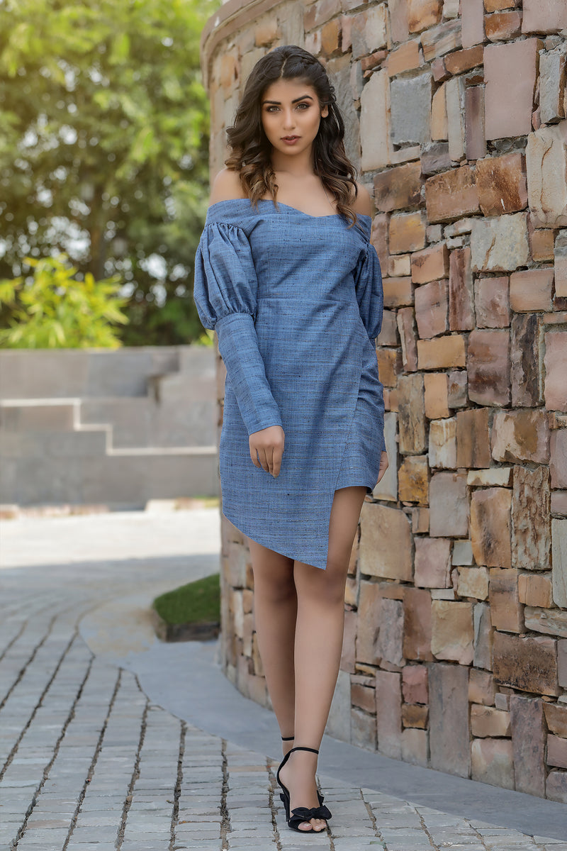 Off Shoulder Asymmetrical Mini Dress