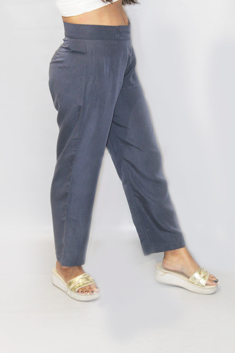 Loose Fitted Ash Blue Trouser