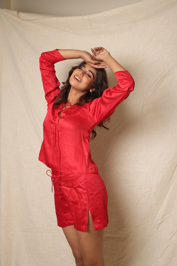 Red Front Loops Loose Fitted Night Wear
