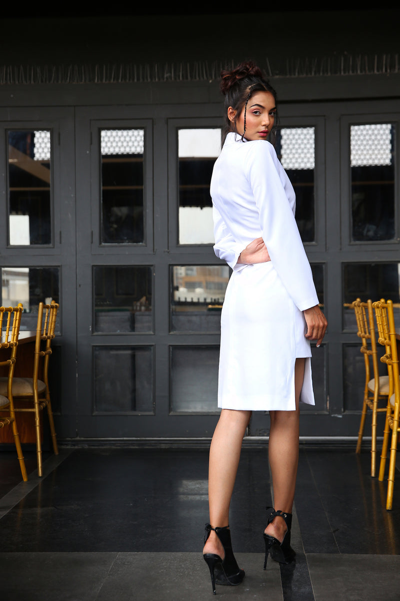 Asymmetrical white formal blazer dress