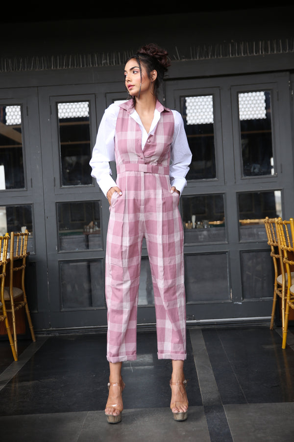 White shirt paired with Checkered jumpsuit