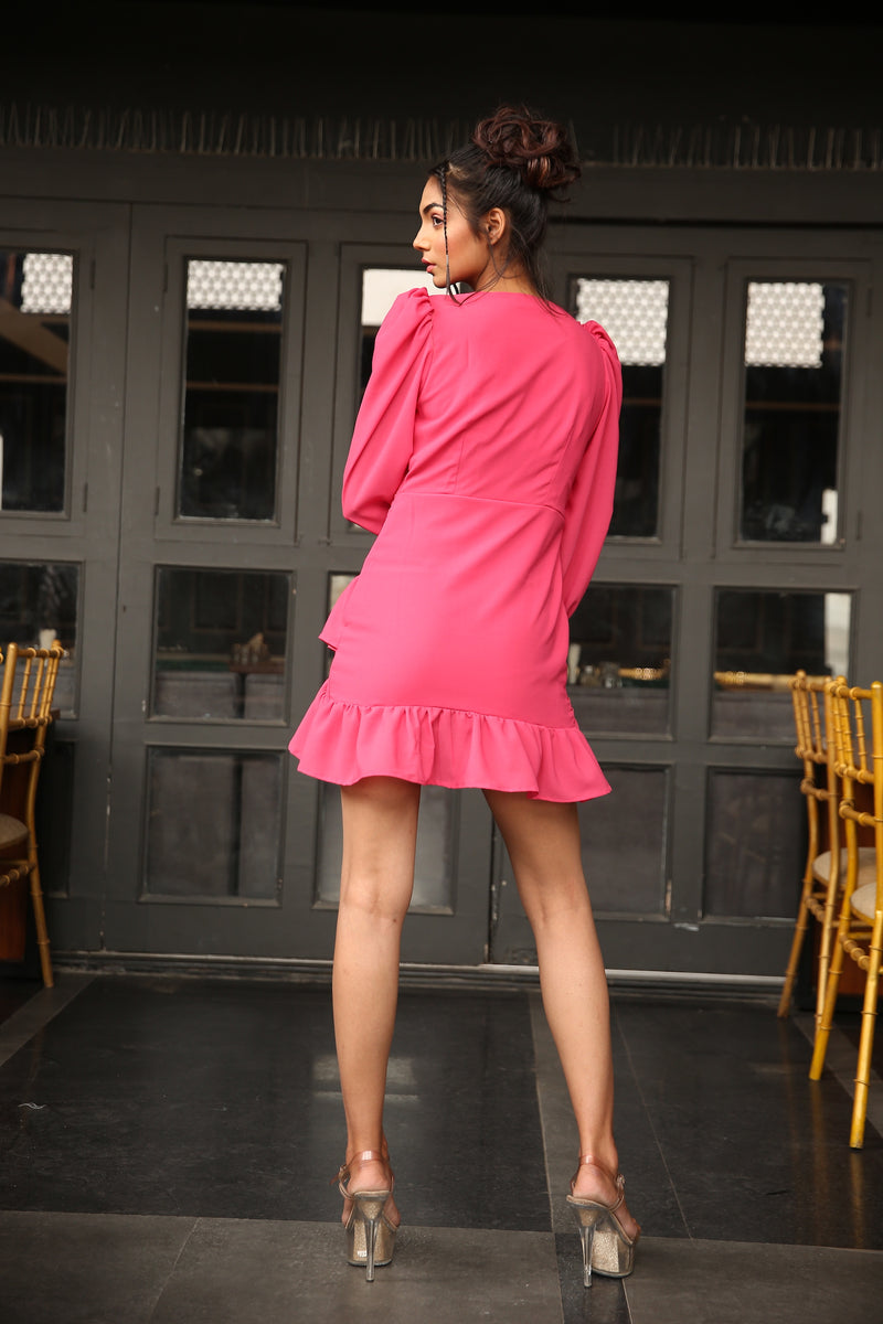 Balloon sleeve overlap pleating V-neck mini dress