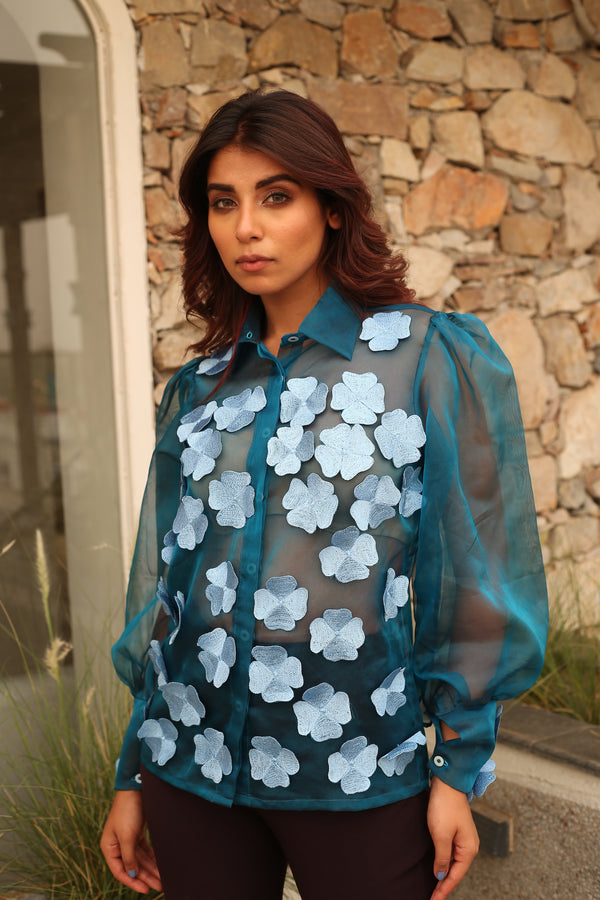 3D Flower Embroidered Full sleeves Organza Shirt