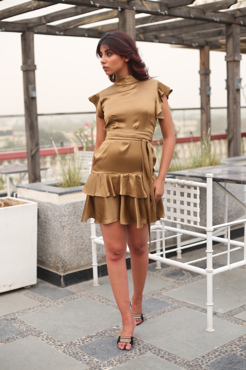 Satin Backless Ruffle sleeve with double ruffle hem dress