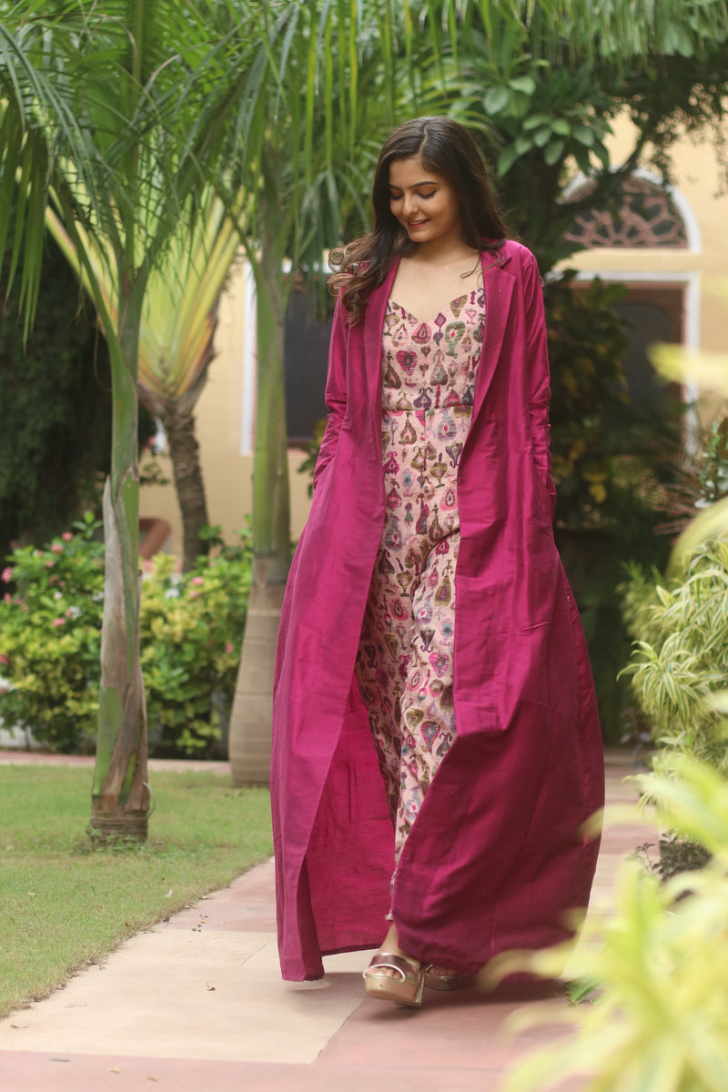 Sweetheart Neck  printed Jumpsuit With Magenta Long Raw Silk Shrug