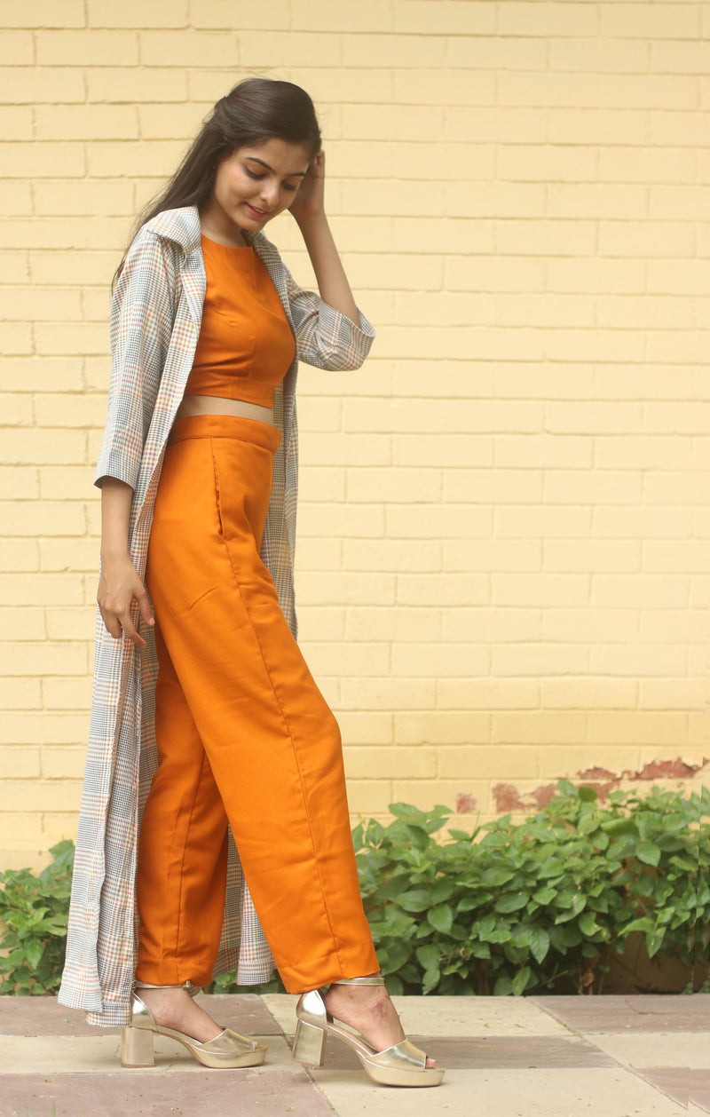 Orange Crop Top & Pants With Plaid Checks Shrug