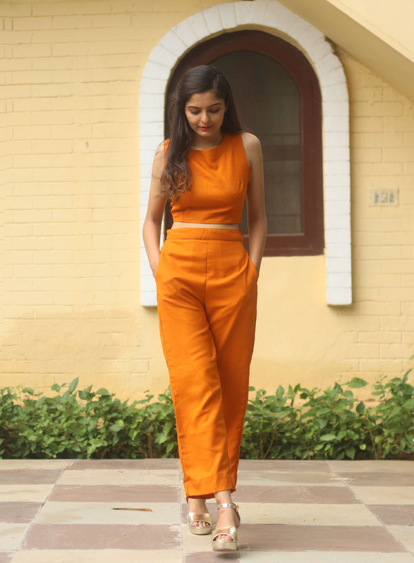 Orange Crop Top & Pants
