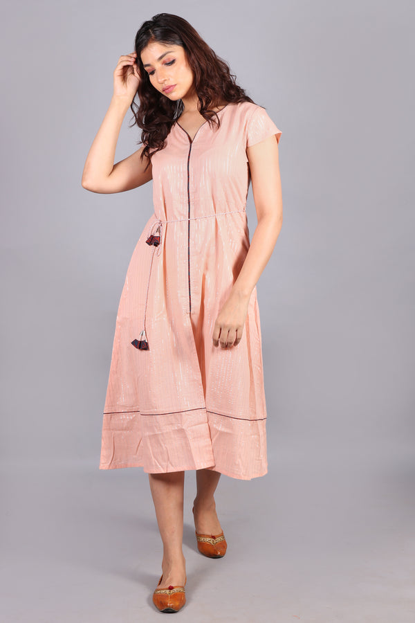 Cotton silver lining peach midi