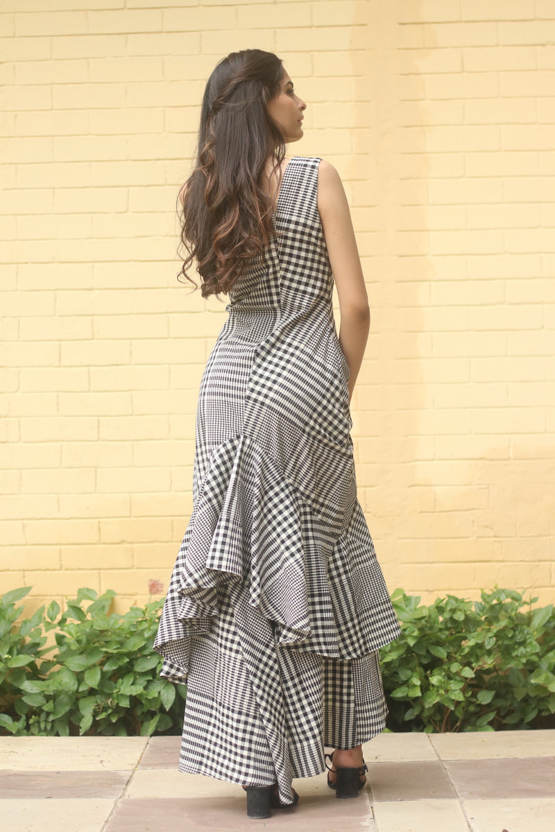 Grey Double Layer Frill Maxi