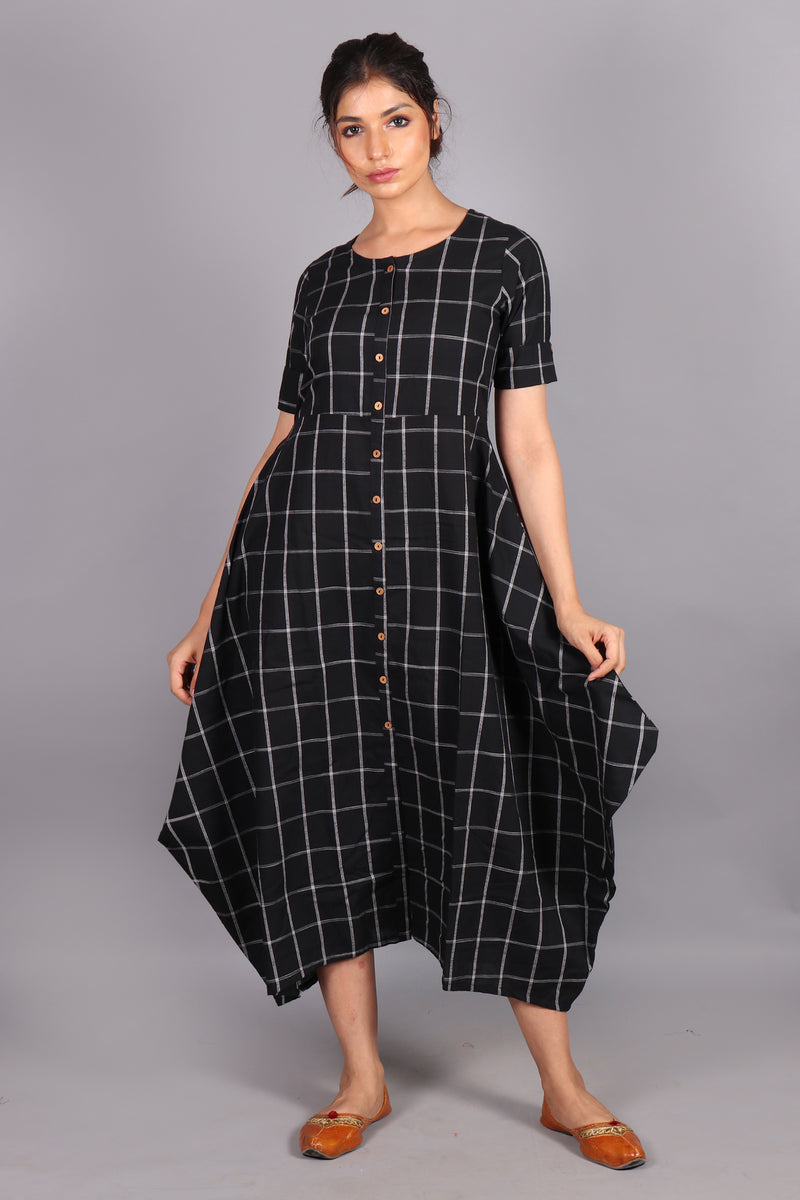 Black checkered curchief pattern maxi