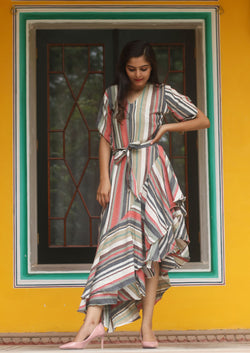Multi Colour stripes V neck High Low Ruffle Belted Tunic Maxi
